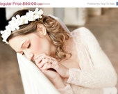 bridal headband ,bridal headband ,SALE Hydrangea floral headpice White or Ivory, wedding headpiece, head wreath in white, EVA- by DeLoop
