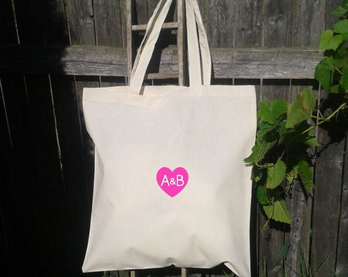 CRAZY Sale! only 4.50 each! 14x16 totes Heart with Initials