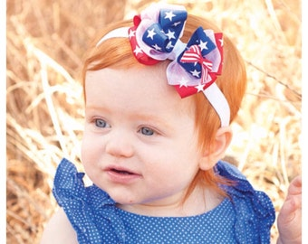 Baby Headband, 4th of July, Baby BowTriple Layer Stars and Stripes, 4th of July Boutique Bow