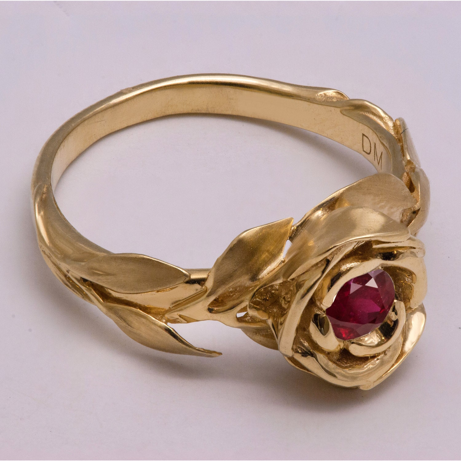 Rose Engagement Ring No.1 14K Gold And Ruby Engagement Ring