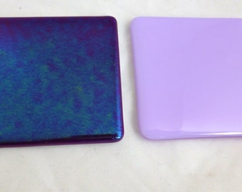 Fused Glass Coasters  in Lllac and Iridescent Violet - set of two