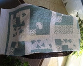 "Blue Grey/White Quilt - 54"" x 72"" - ""Bringing simple beauty into your urban life style""-Contemporary Quilt - Ready to Ship"