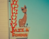 Hip Kitty Jazz and Fondue Club - Mid Century Modern Decor - Neon Sign - Red and Teal Art - Retro Wall Art - Kitty Cat - Fine Art