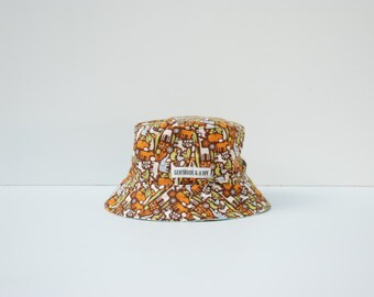 Baby Sun Hat Reversible (12-24 months) with strap - Animal Safari