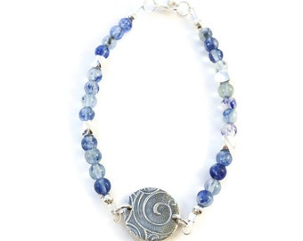 Silver charm bracelet with blueberry quartz bead gemstones