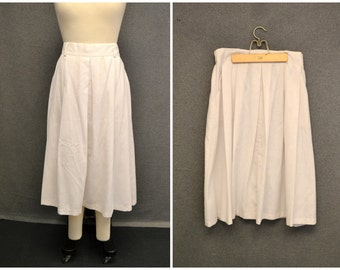 1980s White Linen Look Skirt