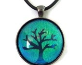 Teal Iridescent Holographic Tree of Life Glass Pendant