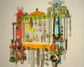 Bling Queen, MADE to ORDER, Jewelry Organizer and Display, Wall Decor, Wall Sculpture, by Fig Jam Studio