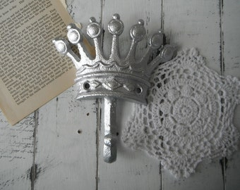 crown hook coat hook silver hook clothing hook shabby chic nursery hook french country rustic home decor jewelry hook tiara hook