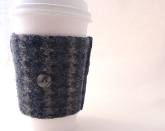 Coffee Cozy BLUE HOUNDSTOOTH Fair Isle Felted Sweater Wool Coffee Cosy / Coffee Sleeve / Coffee Sweater by WormeWoole