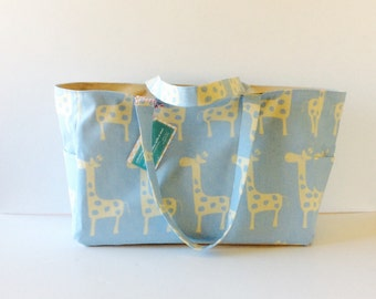 MADE TO ORDER Giraffe Diaper Bag, available in 4 colors, Waterproof lining