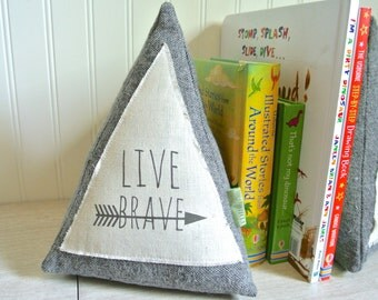 Teepee Bookends, Teepee Pillow, Teepee Shelf Decor, Pyramid Bookends, Fabric Bookends, Triangle Bookends, Modern Bookends, Live Brave Quote