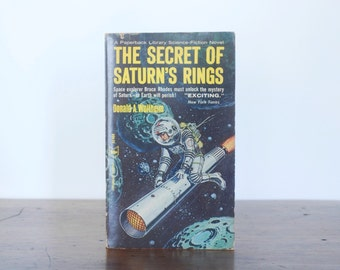 """Book, """"The Secret of Saturn's Rings"""" science fiction paperback, Donald A. Wollheim, outer space astronaut pulp novel, 1950s 1960s, Winston"""