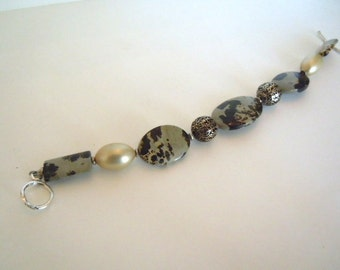 Jasper and Sterling Silver Beaded Bracelet