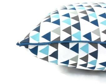 Teepee Triangle Geometric Cushion ,blue and grey ; triangle pillow, geo pillow
