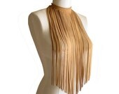 LONG FRINGE NECKLACE Suede Necklace Leather fringe necklace Suede fringe Camel tan Hippie jewelry Stage wear Tribal necklace Fall Fashion