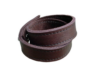 Double Wrap Leather Bracelet, Brown Leather Wrap cuff bracelet Leather Bangle Leather Strap Bracelet Leather Band Bracelet  Matching Belt