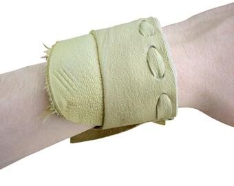 Deerskin  cuff - Goatskin cuff - raw edge cuff - Laced Leather Cuff Bracelet - Rustic Tribal Festival Beige Handmade - Layered Leather