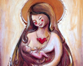 Breastfeeding art, breastfeeding print, gift for doula, mother Mary, mother with baby, 15 20 cm print - 6 8 inch print