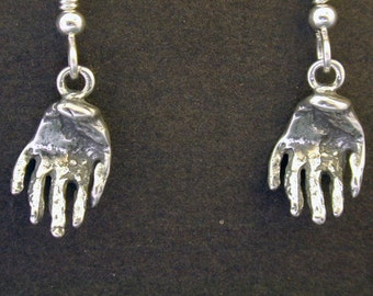 Sterling Silver Hand Earrings on Heavy Sterling Silver French Wires