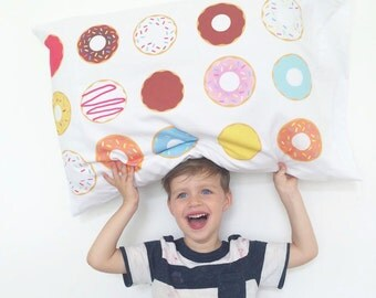 Donut Pillow CaseToddler Pillow  Dream Big Little One Childs Kids Donuts Modern Childrens Bedding Child Kids Room PillowCase Chocolate Donut