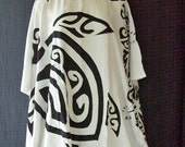 Poncho, Caftan, Bathing Suit Cover Up, Maternity Top ~ White Handpaint 9255