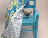 Nursery Animals Soft Baby Blanket for Boys in Greens Blues Brown White  Chevron Reverse