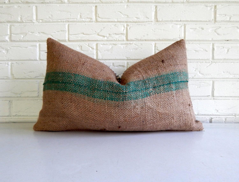 Throw Pillow Covers Farmhouse : Turquoise Stripe Burlap Throw Pillow Cover Modern Farmhouse