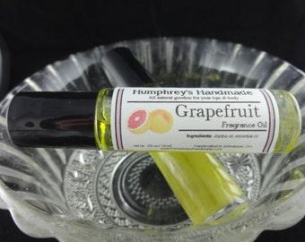 GRAPEFRUIT Perfume Fragrance, Essential Roll On Perfume Oil, Citrus, Bpa Free Glass Bottle, Moisturizing Jojoba Oil