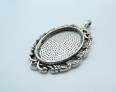 New 5pcs 27x45mm-18x25mm Antique Silver Oval Cameo Cabochon Base Setting Pendants C2455