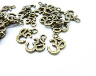 40pcs 10x16mm Antique Bronze  Yoga Ohm Aum Symbol  charm Pendant C6029