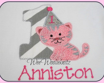 Girls Kitten Birthday T shirt or Bib Girls Boys Applique Personalized 1st 2nd 3rd Cat