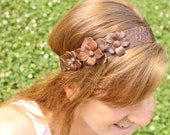 Handmade Leather Headband... Flower Trio with Carved Leaf Pattern