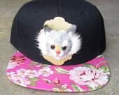 ROJAS cats floral snapbacks cat flower hat kitty flower hats kitten florals snapback taxidermy mini feline cap caps pink flowers