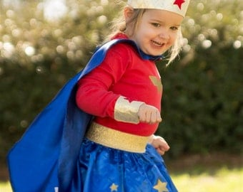 Wonder woman costume 3PC Skirt, Red Top and Cape Toddler girls costume 3PC Halloween costume for girls toddlers - Wonder woman