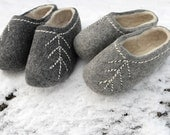 Hand made  Felted Wool Slippers in Dark grey with White inside and decor.