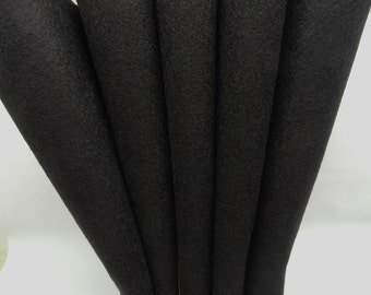 Wool Felt - Wool Sheets - Black Wool - Merino Blend Wool Felt - Craft Felt - 12 X 18
