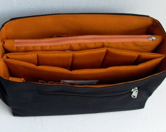 Taller large Bag organizer for Tote Bag - Purse organizer insert with two divider compartment- zipper and laptop case.