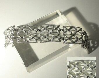 Silver Wide Bracelet, Coro Pegasus, Leaf Flower Bracelet, Open Work