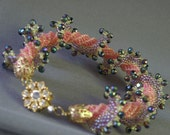 Bridal Bracelet Rhinestone Crystal Purple Pink Lavender Lemon Meuki seed Beads Gold plated Rhinestone Toggel Clasp