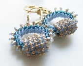 RESERVED Romantic Boho Chic circle Hoops earring tiny shades of blue gold beige seed beads Toho finished with gold plated hooks.