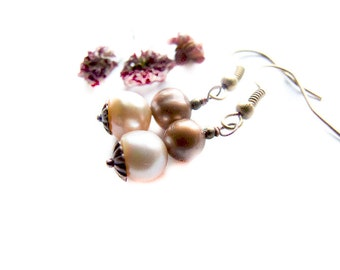 Simple Autumn Pearl Earrings, Dangle Pearl Earrings, Freshwater Pearl Jewelry