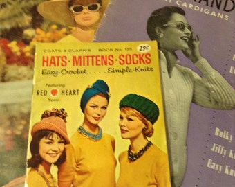 3 Vintage Knitting and Crochet Pattern Books