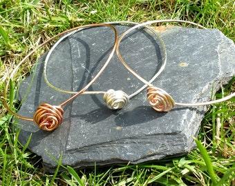 Trio of Rosebud Design Silver Plated Bangle Bracelets, Copper, Rose Gold Plated, Silver plated, wirework bracelet,yoga bracelet,boho stack