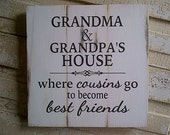 Grandma and Grandpa's House pallet style wooden sign by White by Dressingroom5