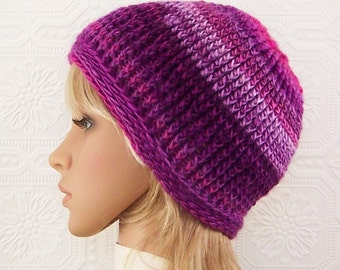 Crochet hat - pink and mulberry beanie - Women's Winter Accessories - gift for her handmade by Sandy Coastal Designs - ready to ship