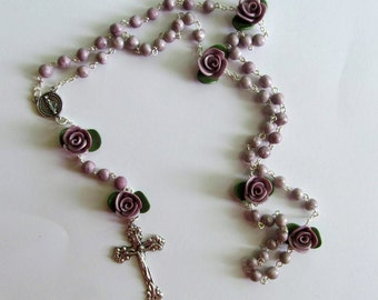 Metallic Purple Rosary, clay, handmade