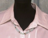 """Swirl Blue and White Small Beads Necklace Beaded Vintage Circa 1970's 24"""" Long"""