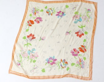 vintage silk scarf, 50s floral scarf