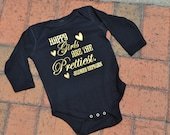 Happy Girls are the Prettiest Long Sleeve Onesie - Baby Shower Gift - Personalized